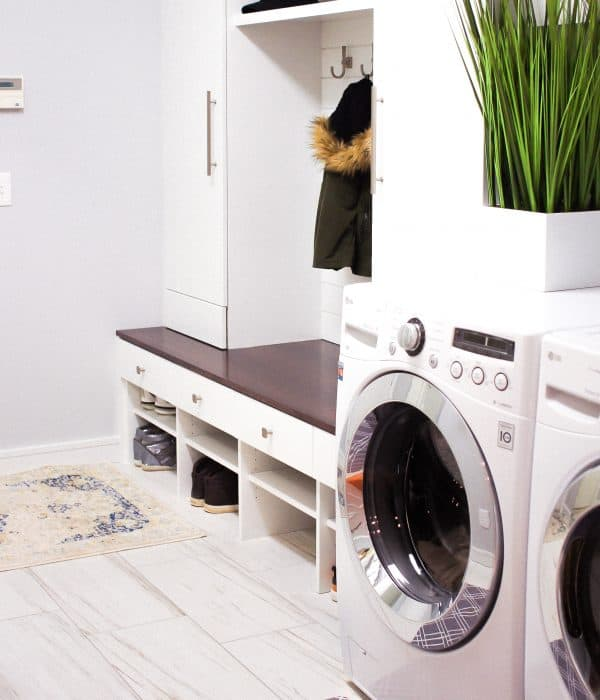 Ideas for remodeling small laundry mudroom space modern