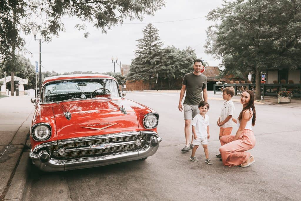 Cool car we spotted during our photo session in Excelsior, MN on Water Street. The kids loved it! | Brunette on a Mission Blog | #kidsphotography