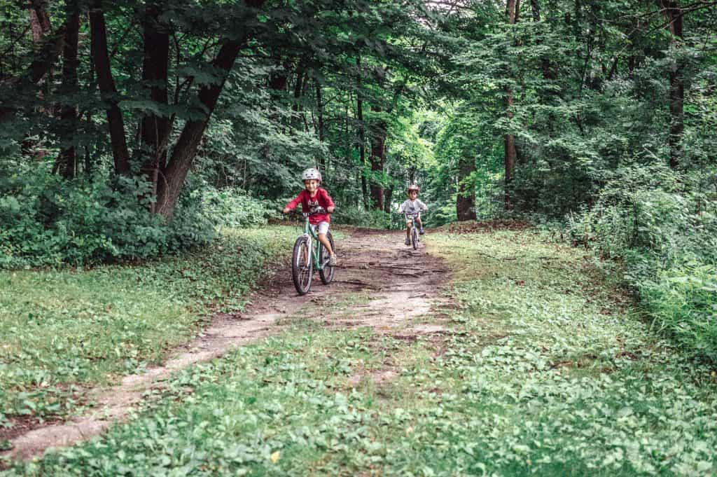 Woom 5 Bike Review | A toddler and a 6 year-old boy riding their woom bikes through the forest trails.