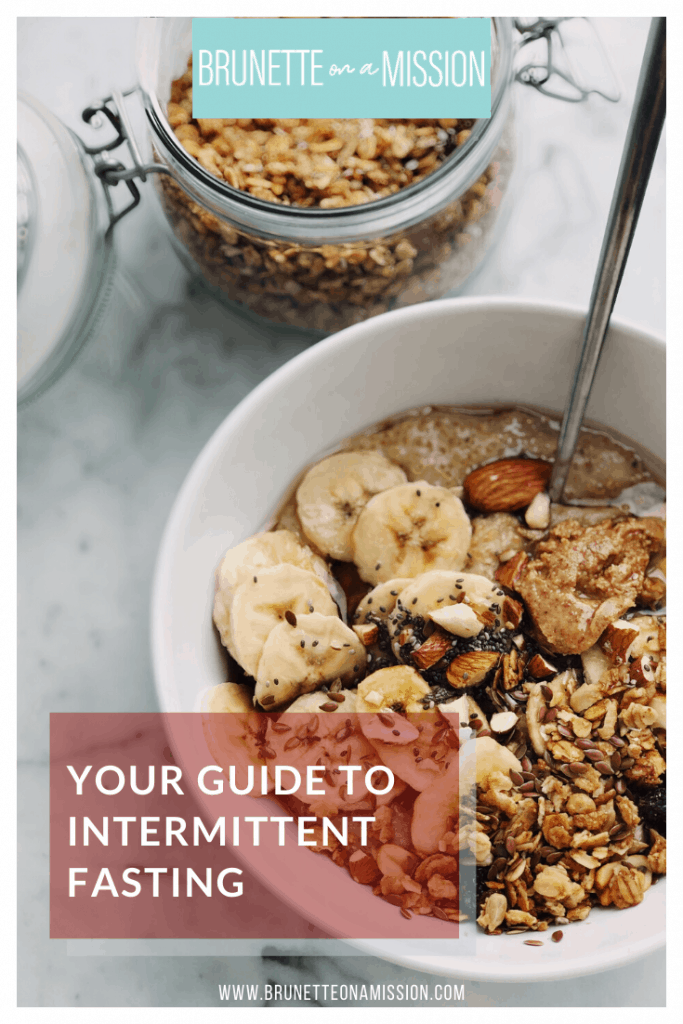 Guide to Intermittent Fasting for Beginners - Bowl of yogurt with bananas, almond butter, chia, and granola.