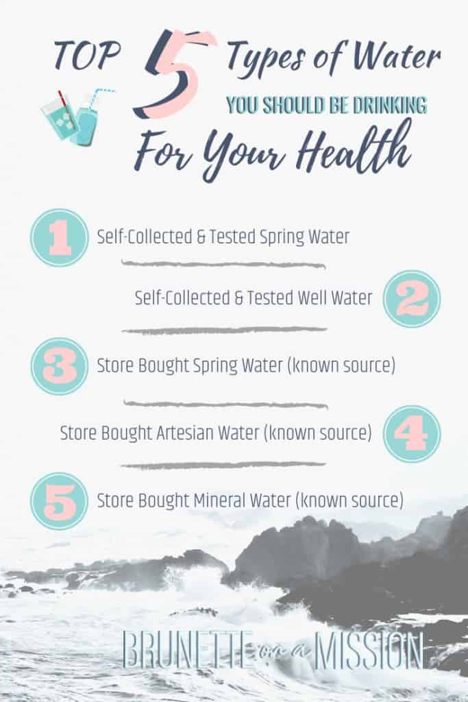 Top 5 Types of Water to Drink - Pinterest graphic listing top 5 kinds of water you should drink for health and longevity.