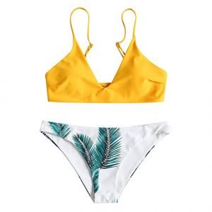 How to Set Goals and Achieve Them - Zaful swim Bikini Set in mustard and palm print