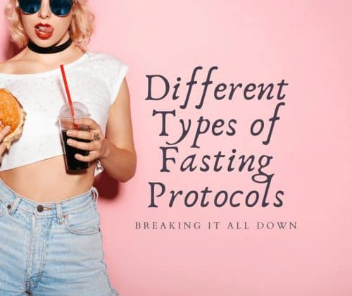 Beautiful young woman standing with a burger and a soda drink | Different Types of Fasting Protocols | Brunette on a Mission