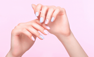 Beautiful manicure with design in pastels on hands - Everything About the Green Nails Syndrome | Brunette on a Mission