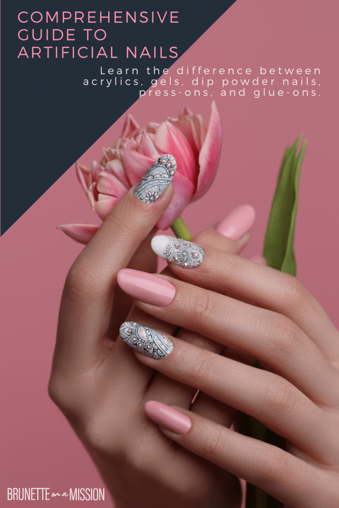 """Pin for post """"Artificial Nails - All the Different Types of Fake Nails"""" - Showing a hand with beautiful manicure holding a branch against a flat pink background."""